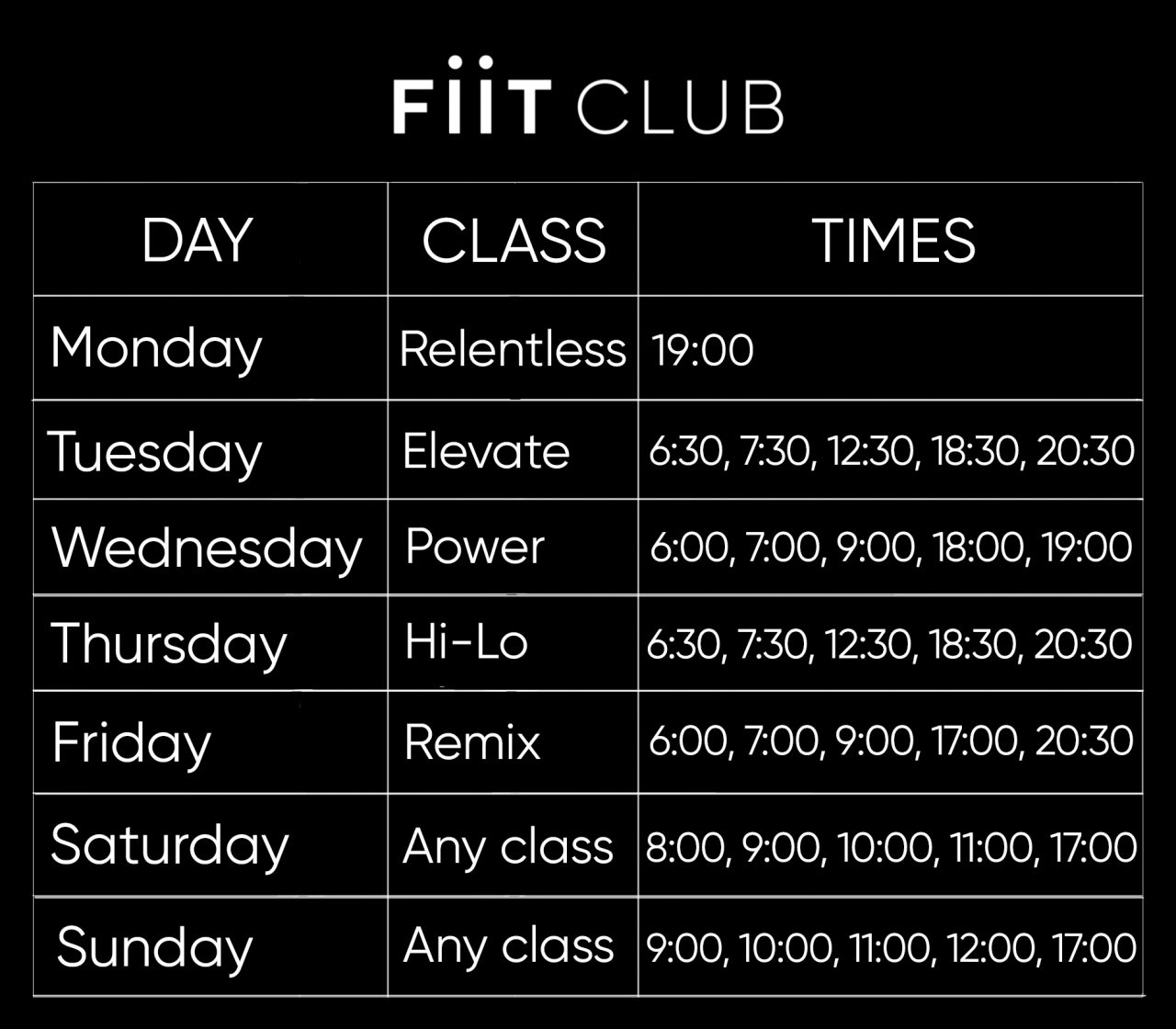 Weekly Fiit Club class schedule
