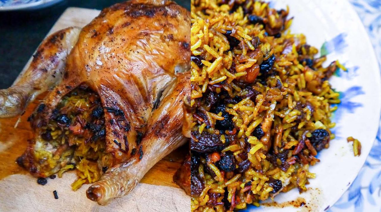 Roast chicken with Persian rice